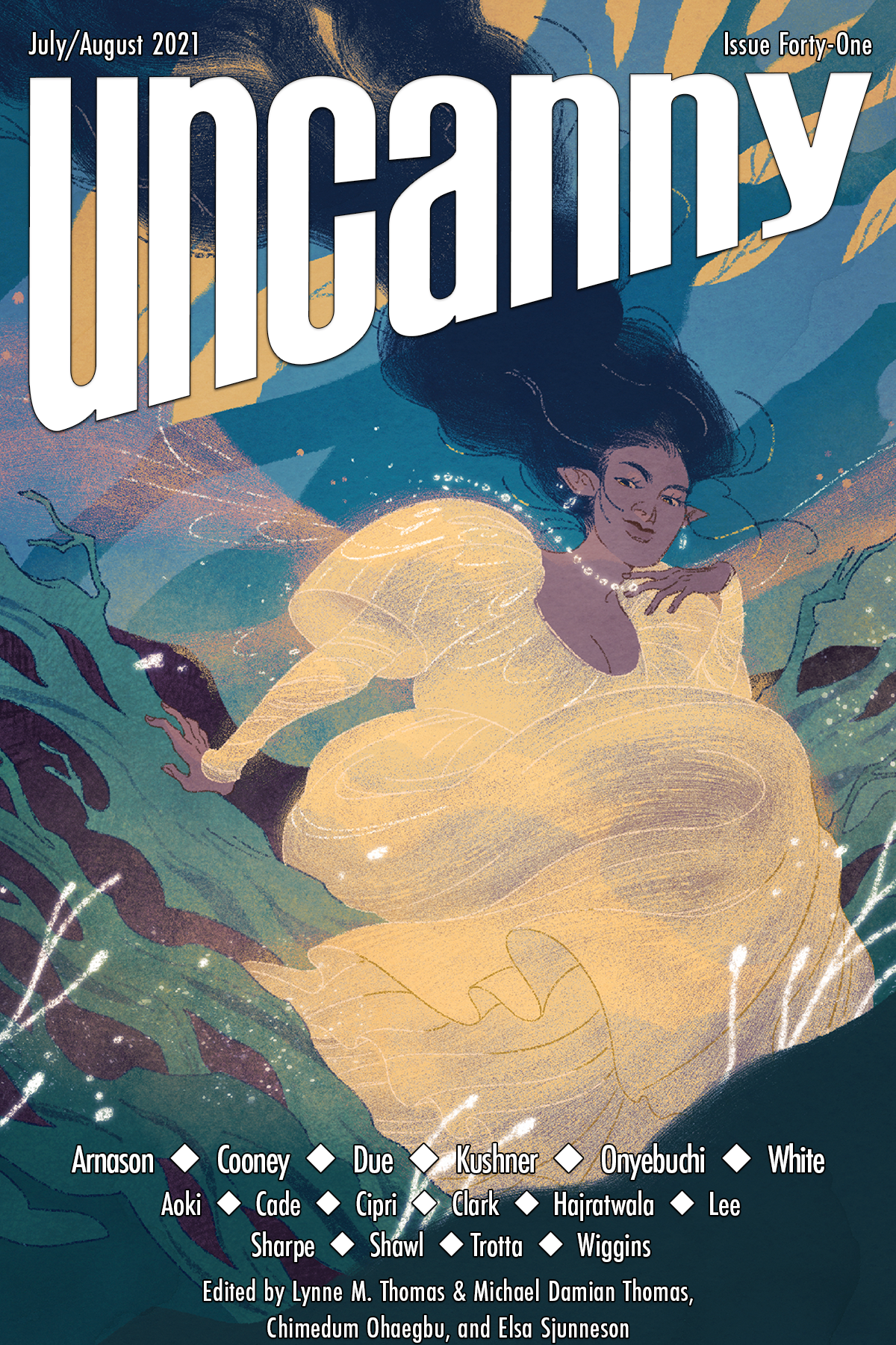 """The Uncanny Magazine Issue 41 Cover by Alexa Sharpe. It depicts a brown-skinned elf with flowing blue-black hair and a voluptuous white dress, against a background of flowing grasses. The names of the contributors and the words """"Uncanny, July/August 2021, Issue 41"""", are on the image."""